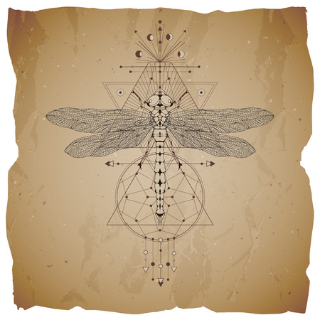 Vector illustration with hand drawn dragonfly and Sacred geometric symbol on vintage paper background with torn edges. Abstract mystic sign. Sepia linear shape. For you design: tattoo, print, posters, t-shirts, textiles.