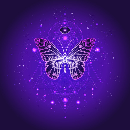 Vector illustration with hand drawn butterfly and Sacred geometric symbol against night starry sky. Abstract mystic sign. Linear shape. For you design or magic craft. Imagens - 117280821