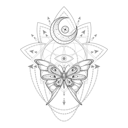 Vector illustration with hand drawn butterfly and Sacred geometric symbol on white background. Abstract mystic sign. Black linear shape. For you design, tattoo or magic craft. 写真素材 - 117018002
