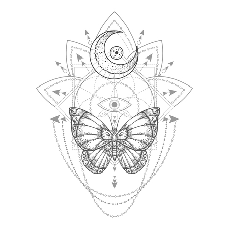 Vector illustration with hand drawn butterfly and Sacred geometric symbol on white background. Abstract mystic sign. Black linear shape. For you design, tattoo or magic craft. 写真素材 - 117018005