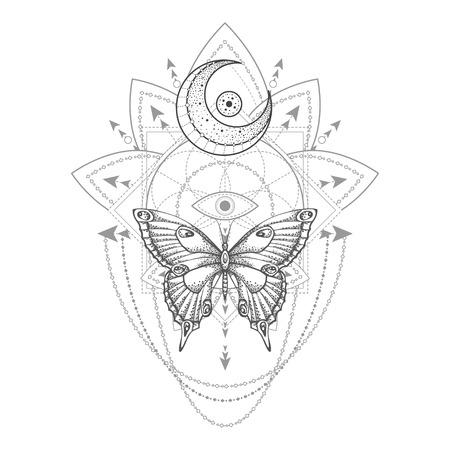 Ilustración de vector con mariposa dibujada a mano y símbolo geométrico sagrado sobre fondo blanco. Signo místico abstracto. Forma lineal negra. Para tu diseño, tatuaje o artesanía mágica.
