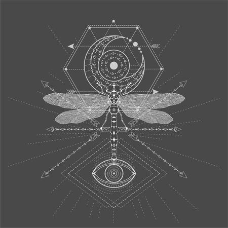 Illustrazione vettoriale con simbolo libellula e sacro disegnato a mano su sfondo nero. Segno mistico astratto. Forma lineare bianca. Per il tuo disegno, tatuaggio o artigianato magico. Vettoriali