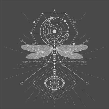 Vector illustration with hand drawn Dragonfly and Sacred symbol on black background. Abstract mystic sign. White linear shape. For you design, tattoo or magic craft.
