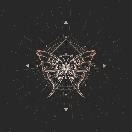 Vector illustration with hand drawn butterfly and Sacred geometric symbol on black vintage background. Abstract mystic sign. Gold linear shape. For you design or magic craft. Çizim