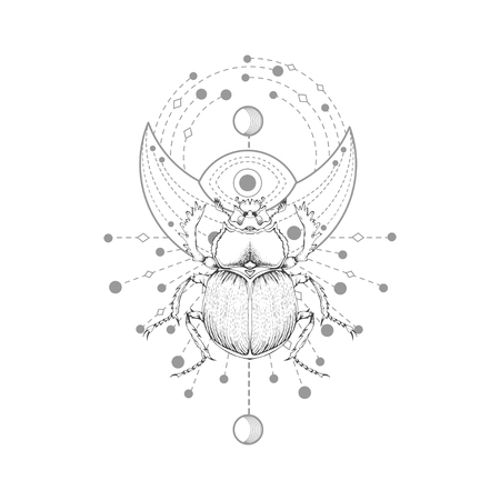 Vector illustration with hand drawn scarab and Sacred symbol on white background. Abstract mystic sign. Black linear shape. For you design, tattoo or magic craft. Vektoros illusztráció