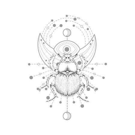 Vektorillustration mit handgezeichnetem Skarabäus und heiligem Symbol auf weißem Hintergrund. Abstraktes mystisches Zeichen. Schwarze lineare Form. Für Sie Design, Tattoo oder Zauberhandwerk. Vektorgrafik