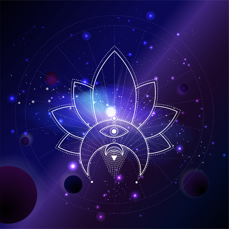Vector illustration of Sacred or mystic symbol against the space background with planets and stars. Abstract geometric sign drawn in lines. Multicolored.
