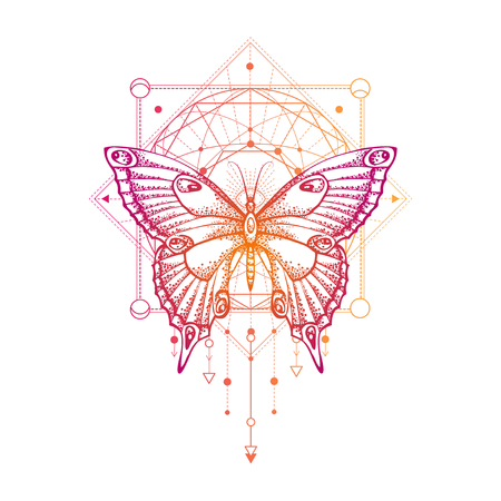 Vector illustration with hand drawn butterfly and Sacred geometric symbol on white background. Abstract mystic sign. Colored linear shape. For you design, tattoo or magic craft.