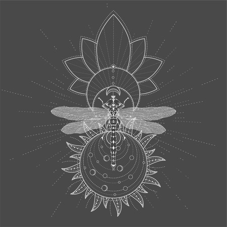 Vector illustration with hand drawn Dragonfly and Sacred symbol LOTUS on black background. Abstract mystic sign. White linear shape. For you design, tattoo or magic craft. Stock Illustratie