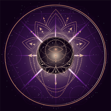 Vector illustration of mystic symbol Lotus on abstract background. Geometric sign drawn in lines. Golden and purple color. For you design and magic craft.