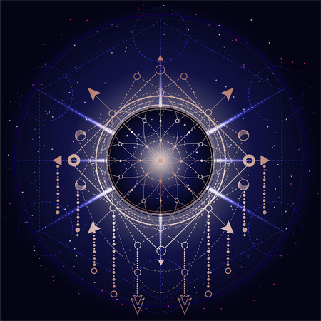 Vector illustration of Sacred or mystic symbol on abstract background. Geometric sign drawn in lines. Golden and blue color. For you design and magic craft. Imagens - 124890550