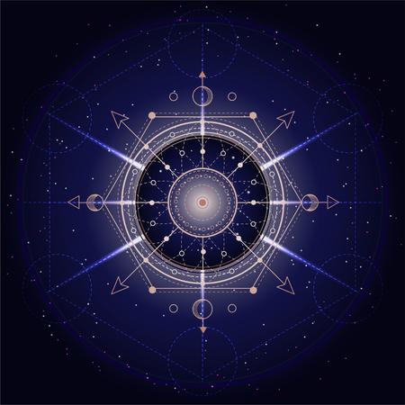 Illustrazione vettoriale di simbolo sacro o mistico su sfondo astratto. Segno geometrico disegnato in linee. Colore dorato e blu. Per te design e artigianato magico. Vettoriali