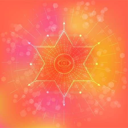 Vector illustration of Sacred or mystic symbol on abstract background. Geometric sign drawn in lines. Pink and orange color. For you design and magic craft. Imagens - 124890564