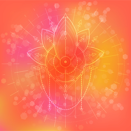Vector illustration of mystic symbol Lotus on abstract background. Geometric sign drawn in lines. Pink and orange color. For you design and magic craft. Imagens - 124890566