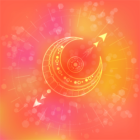 Vector illustration of Sacred or mystic symbol on abstract background. Geometric sign drawn in lines. Pink and orange color. For you design and magic craft. Ilustração