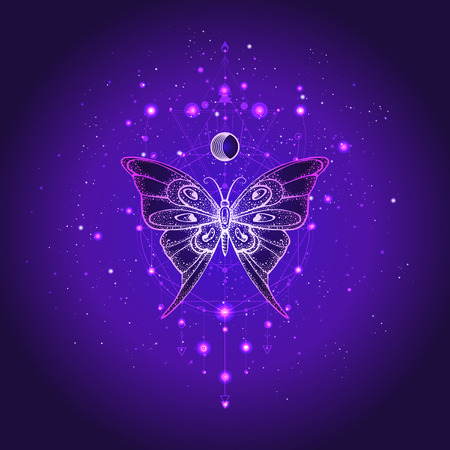 Vector illustration with hand drawn butterfly and Sacred geometric symbol against night starry sky. Abstract mystic sign. Linear shape. For you design or magic craft. Imagens - 119541671