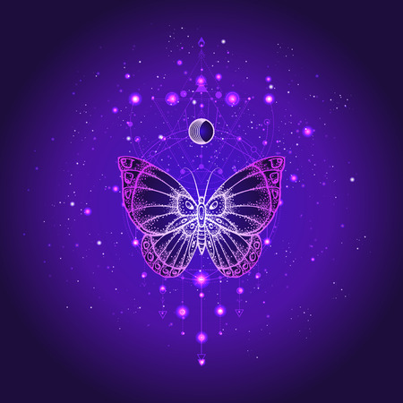 Vector illustration with hand drawn butterfly and Sacred geometric symbol against night starry sky. Abstract mystic sign. Linear shape. For you design or magic craft. Imagens - 124786809