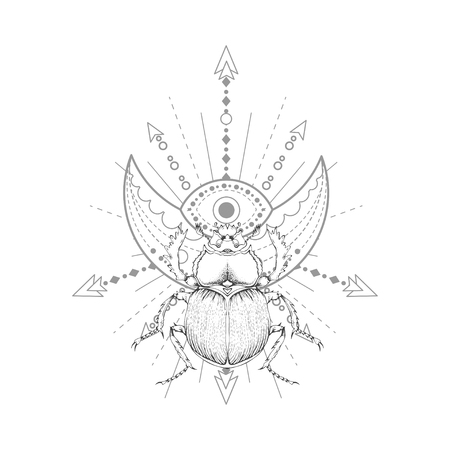 Vector illustration with hand drawn scarab and Sacred symbol on white background. Abstract mystic sign. Black linear shape. For you design, tattoo or magic craft. Imagens - 124786810