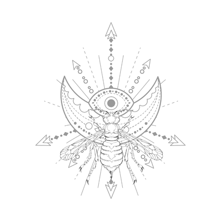 Vector illustration with hand drawn wasp and Sacred symbol on white background. Abstract mystic sign. Black linear shape. For you design, tattoo or magic craft. Imagens - 124786811