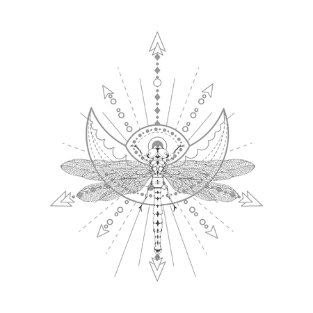 Vector illustration with hand drawn dragonfly and Sacred symbol on white background. Abstract mystic sign. Black linear shape. For you design, tattoo or magic craft. Imagens - 124786813