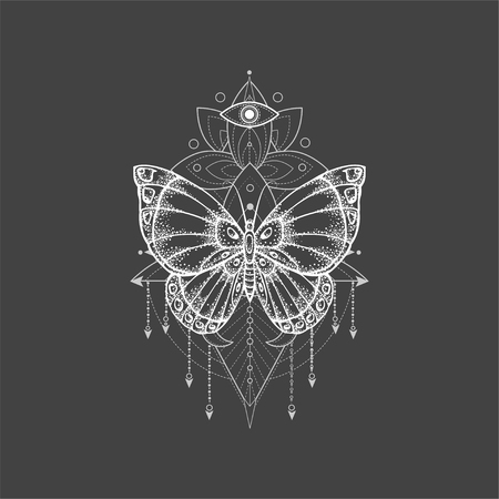 Vector illustration with hand drawn butterfly and Sacred geometric symbol on black background. Abstract mystic sign. White linear shape. For you design, tattoo or magic craft. Imagens - 124786814