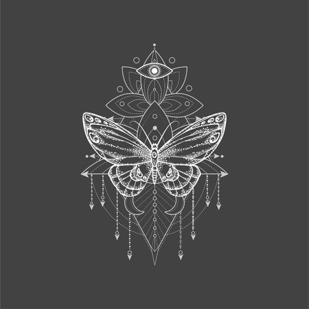 Vector illustration with hand drawn butterfly and Sacred geometric symbol on black background. Abstract mystic sign. White linear shape. For you design, tattoo or magic craft. Imagens - 124786815