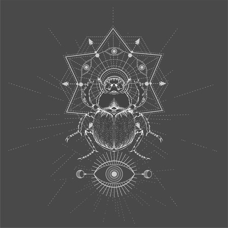 Vector illustration with hand drawn Scarab and Sacred geometric symbol on black background. Abstract mystic sign. White linear shape. For you design, tattoo or magic craft. Imagens - 124786818