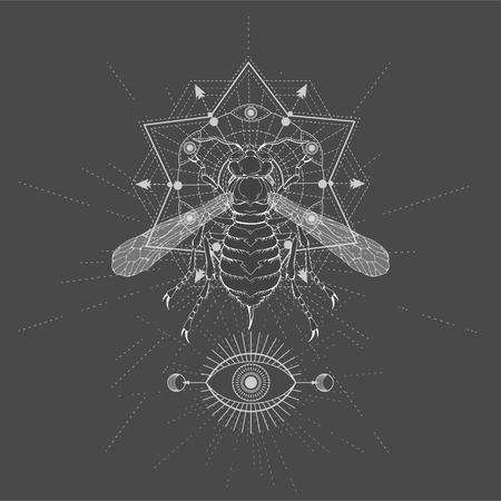 Vector illustration with hand drawn Wasp and Sacred geometric symbol on black background. Abstract mystic sign. White linear shape. For you design, tattoo or magic craft.