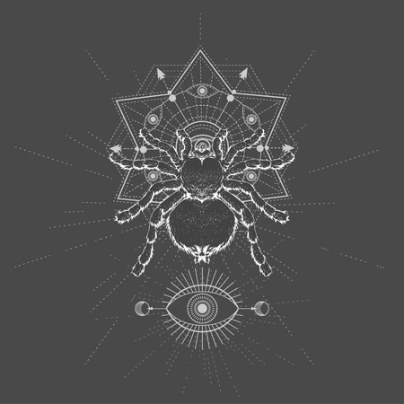 Vector illustration with hand drawn Spider Tarantula and Sacred symbol LOTUS on black background. Abstract mystic sign. White linear shape. For you design, tattoo or magic craft. Imagens - 124786819