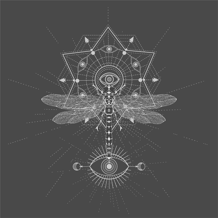 Vector illustration with hand drawn Dragonfly and Sacred geometric symbol on black background. Abstract mystic sign. White linear shape. For you design, tattoo or magic craft. Imagens - 124786820