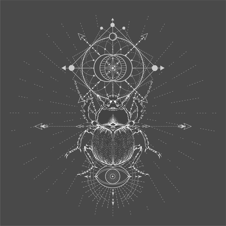 Vector illustration with hand drawn Scarab and Sacred geometric symbol on black background. Abstract mystic sign. White linear shape. For you design, tattoo or magic craft. Imagens - 124786822