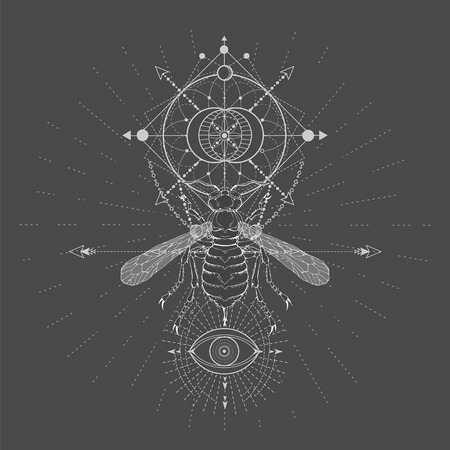 Vector illustration with hand drawn Wasp and Sacred geometric symbol on black background. Abstract mystic sign. White linear shape. For you design, tattoo or magic craft. Imagens - 124786823