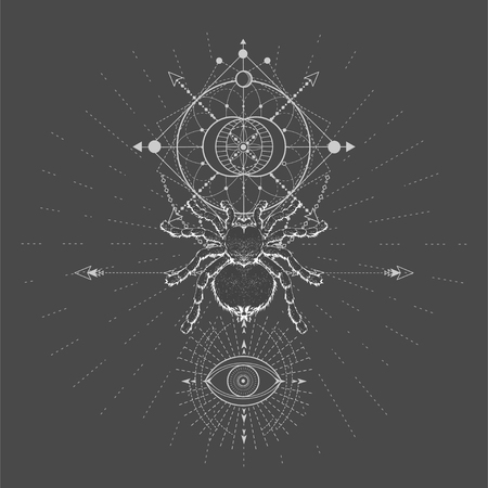 Vector illustration with hand drawn Spider Tarantula and Sacred geometric symbol on black background. Abstract mystic sign. White linear shape. For you design, tattoo or magic craft. Imagens - 124786824
