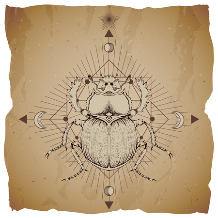 Vector illustration with hand drawn scarab and Sacred geometric symbol on vintage paper background with torn edges. Abstract mystic sign. Sepia linear shape. For you design.