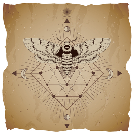 Vector illustration with hand drawn dead head moth and Sacred geometric symbol on vintage paper background with torn edges. Abstract mystic sign. Sepia linear shape. For you design.