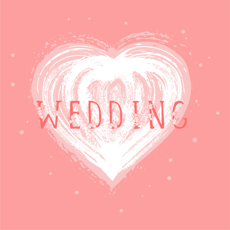 Vector illustration with hand drawn text WEDDING and grunge heart on pink background. Templates for card, label, poster, banner, flyer and other. Иллюстрация