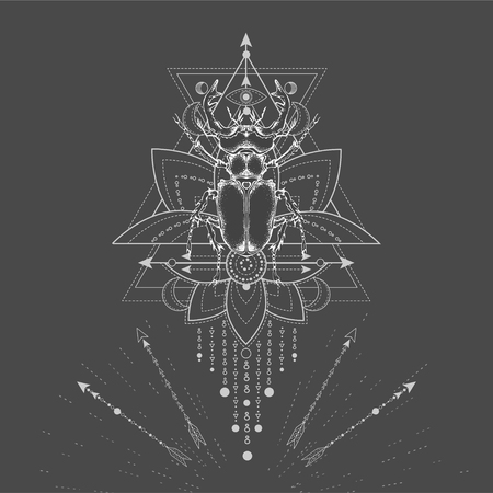 Vector illustration with hand drawn Stag Beetle and Sacred symbol on black background. Abstract mystic sign. White linear shape. For you design, tattoo or magic craft.