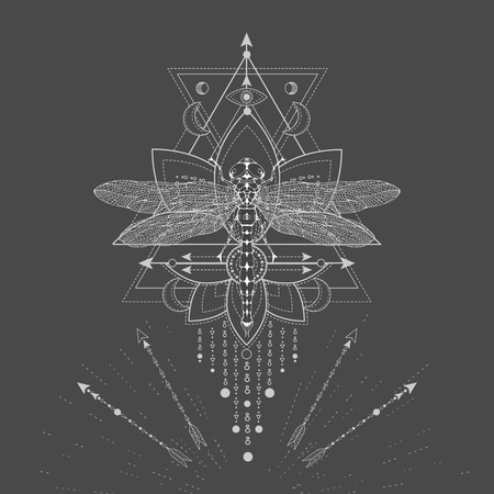 Vector illustration with hand drawn Dragonfly and Sacred symbol LOTUS on black background. Abstract mystic sign. White linear shape. For you design, tattoo or magic craft. Çizim