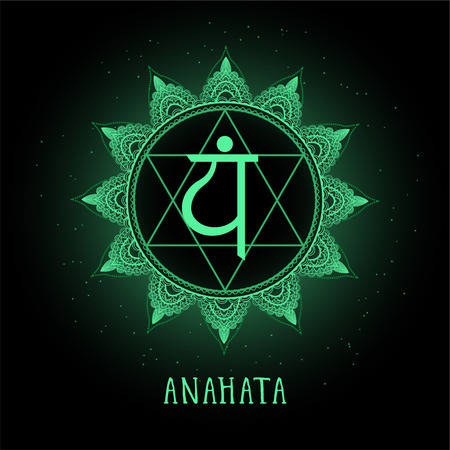 Vector illustration with symbol chakra Anahata on black background. Round mandala pattern and hand drawn lettering. Colored.