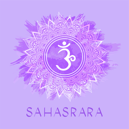 Vector illustration with symbol Sahasrara - Crown chakra on watercolor background. Circle mandala pattern and hand drawn lettering. Multicolor.