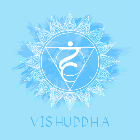 Vector illustration with symbol Vishuddha - Throat chakra on watercolor background. Circle mandala pattern and hand drawn lettering. Coloredr.