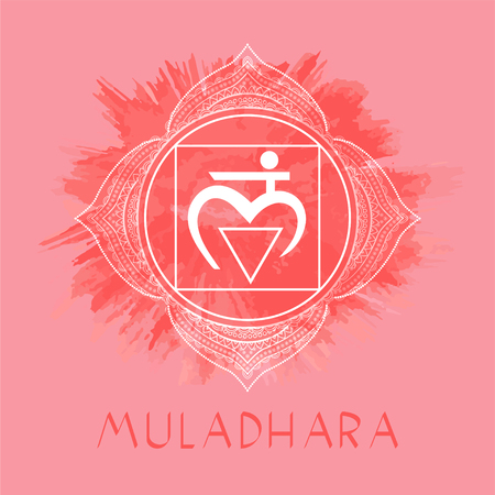 Vector illustration with symbol Muladhara - Root chakra on watercolor background. Circle mandala pattern and hand drawn lettering. Multicolor.