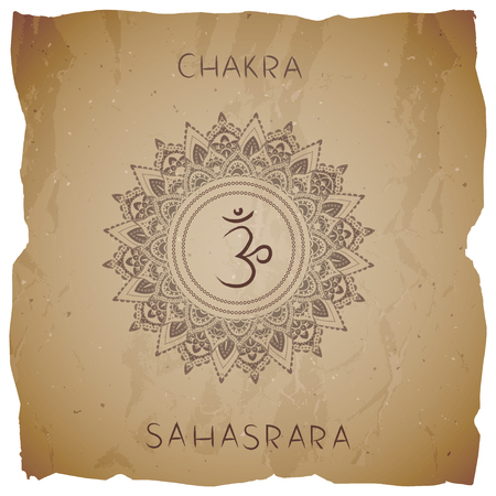 Symbol Sahasrara - Crown chakra on vintage background with torn edge. Circle mandala pattern and hand drawn lettering. Illustration
