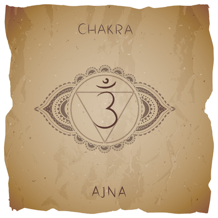 Symbol Ajna - Third Eye chakra vintage background with torn edge. Circle mandala pattern and hand drawn lettering. Vector illustration.