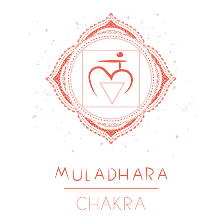 Vector illustration with symbol chakra Muladhara on white background. Circle mandala pattern and hand drawn lettering.