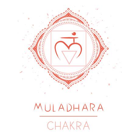 Vector illustration with symbol chakra Muladhara on white background. Circle mandala pattern and hand drawn lettering.