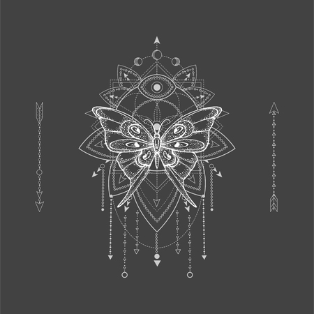 Vector illustration with hand drawn butterfly and Sacred geometric symbol on black background. Abstract mystic sign. White linear shape. For you design, tattoo or magic craft. Stock Illustratie
