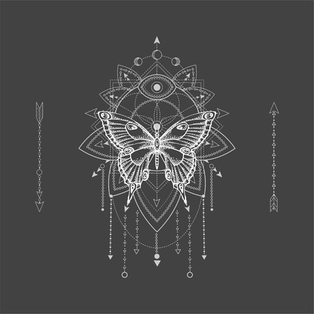 Vector illustration with hand drawn butterfly and Sacred geometric symbol on black background. Abstract mystic sign. White linear shape. For you design, tattoo or magic craft. Ilustrace