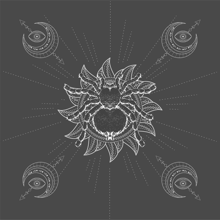 Vector illustration with hand drawn Spider Tarantula and symbol Sun on black background. Abstract mystic sign. White linear shape. For you design, tattoo or magic craft.