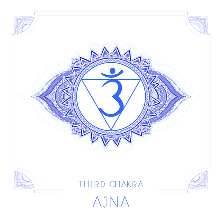 Vector illustration with symbol Ajna - Third Eye chakra and decorative frame on white background. Round mandala pattern and hand drawn lettering. Colored.
